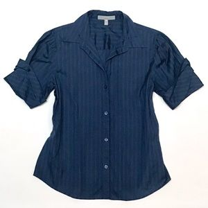 Flawless Foxcroft Short Sleeve Navy Button Up